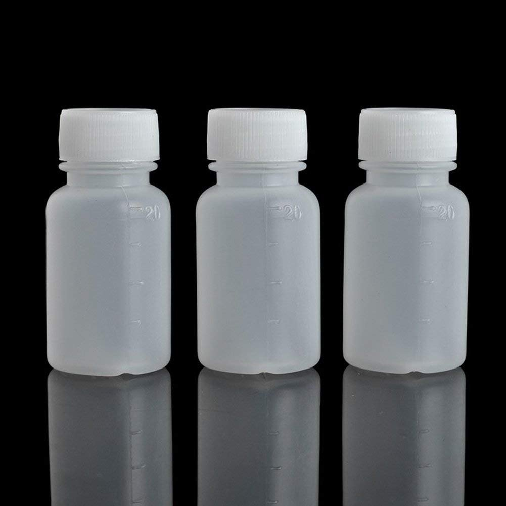 100Pcs 20ml PE Plastic Empty Small Mouth Graduated Lab Chemical Container Reagent Bottle Sample Sealing Liquid Medicine Bottle