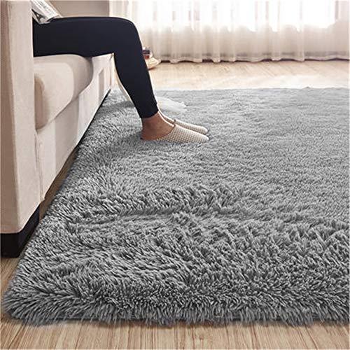 Teppiche Kunstfell Wohnzimmer Teppich Grau Fellimitat Bettvorleger Sofa Matte Super weich Teppich für Wohnzimmer Schlafzimmer Kinderzimmer Auto Esszimmer Fluffy Kindermatte (118 x 145 cm)