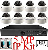 USG 5MP IP CCTV Kit: 1x 8 Ch @ 5MP NVR + 8x 5MP IP PoE 2.8-12mm Dome Cameras + 2x 3TB HDD = 6TB Total *** Ultra High Definition Video Surveillance For Your Home or Business!