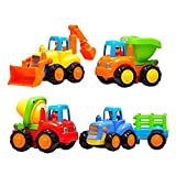Friction Powered Cars Push and Go Toys Car Construction Vehicles Toys Set of 4 Tractor, Cement Mixer, Bulldozer & Dump Truck for Boys Baby Toddlers Kids Gift