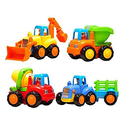 Friction Powered Cars Push and Go Toys Car Construction Vehicles Toys Set of 4 Tractor, Cement Mixer, Bulldozer & Dump Truck for Boys Baby Toddlers Kids Gift (Little Tikes Car Carrier)