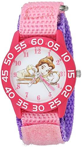 Disney Girl's 'Princess Belle' Quartz Plastic and Nylon Casual Watch, Color:Pink (Model: WDS000222)