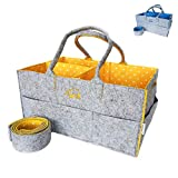 Baby Diaper Caddy Organizer | Large Nursery Shoulder Strap Changing Bag | Portable Travel Car Wipes Tote | Sturdy Baby Shower Gift Basket for Boys Girls | Newborn Registry Must Have (Yellow)