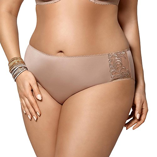 Gorsenia K379 Women's Victoria Beige Embroidered Knicker Panty Full Brief XLGE ()