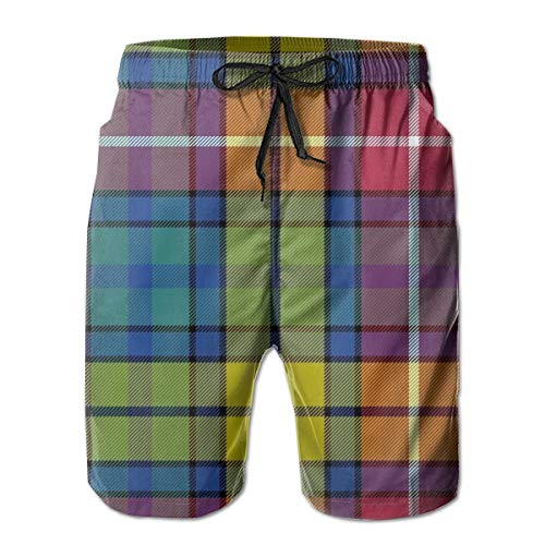 ZIPOAKASS Buchanan Ancient Tartan Men's Beachwear Summer Holiday Swim Trunks Quick Dry Striped Hawaiian Printed White