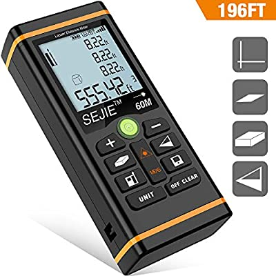 DinoFire Laser Measure 196Ft M/In/Ft Digital Laser Distance Meter Backlit LCD, Pythagorean, Distance, Area and Volume Measure Laser Measuring Tool - Carry Pouch Included