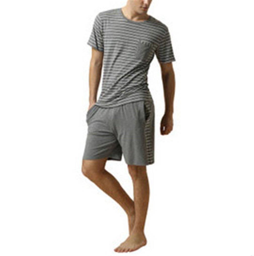 AEOPES Homewear Men Casual Striped Pajama Sets O-Neck Collar Shirt Half Pants Sleepwear Gray Men M
