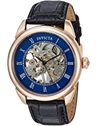 Invicta Mens Specialty Mechanical Hand Wind Stainless Steel and Leather Casual Watch, Color:Black (Model: 23538)