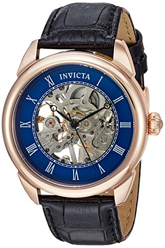 Invicta Men's 'Specialty' Mechanical Hand Wind Stainless Steel and Leather Casual Watch, Color:Black (Model: 23538) (Leather Rose Invicta Gold Watch)