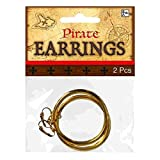 : Notorious Pirate Party Hoop Earrings Accessory, Gold, Metal, Pack of 2