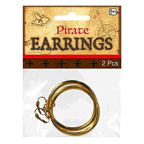 [Notorious Pirate Party Hoop Earrings Accessory, Gold, Metal, Pack of 2] (Pirate Clothing And Accessories)