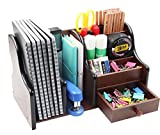 desk organizer wood - PAG Office Supplies Wood Desk Organizer Book Shelf Pen Holder Accessories Stroage Caddy with Drawer, 7 Compartments, Brown