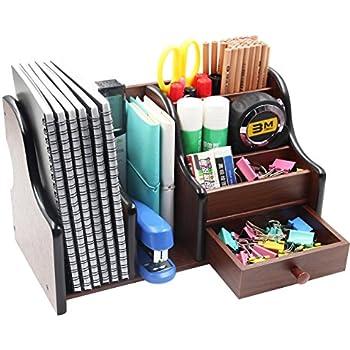 Amazon.com : Cherry Brown Office Wooden Desk Organizer With 3 ...