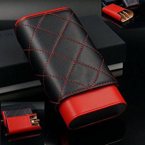 - Red Black Leather Adjustable Cedar Wood Cigar Case Holder Humidor