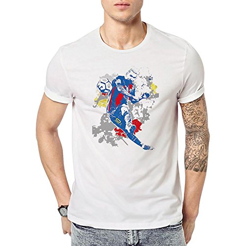 Vipeco Sports Summer 2018 World Cup Casual Printed Soccer Fans Tee T-Shirts(Men/XXL)