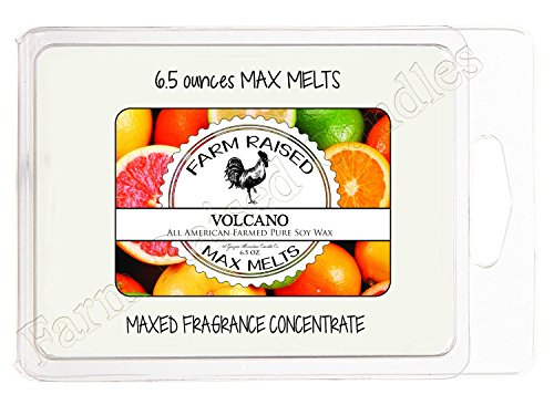 Farm Raised Candles Volcano Scent Soy WAX Melts Warmer (6.5 Ounces) 2X Jumbo Sized. Soy, Vegan, Organic USA Hand Crafted. Candle Scented Wax Cubes Tart. 100% All Natural Like Yankee Candle or Scentsy Berry Scented Wax