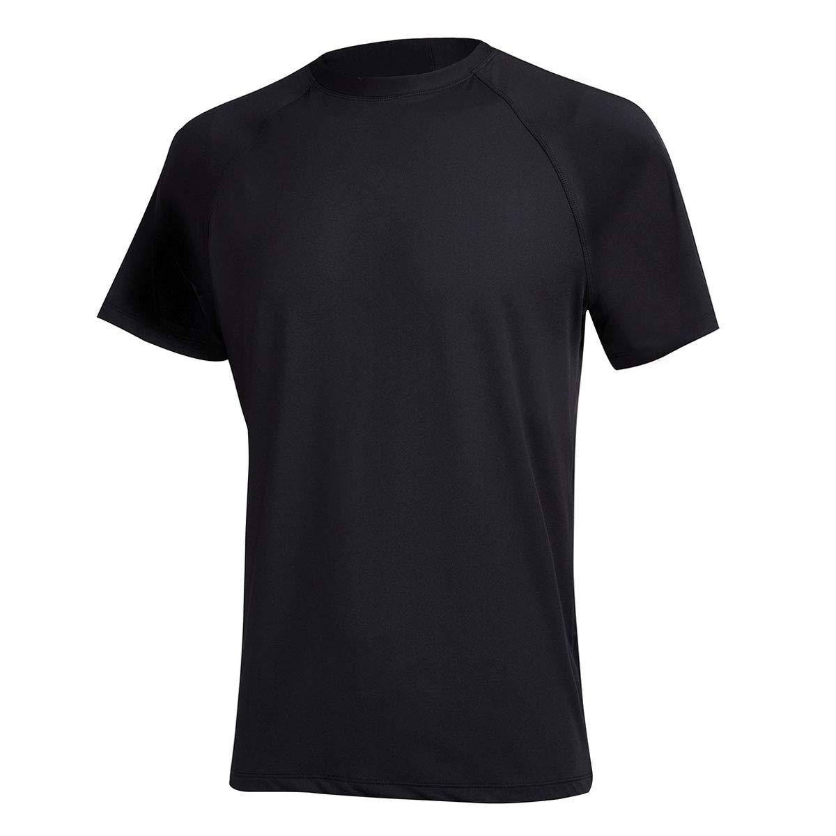 Satankud Men's UPF 50+ Rashguard Swim Tee Short Sleeve Sun Shirt Swimwear Swim Shirts Black XXL by Satankud