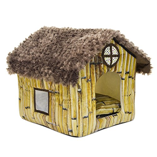 Qianle Dog Bed Warm Plush Dog House Indoor Pet Bed for Medium&Small Dogs Bamboo Patterns
