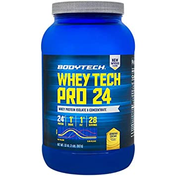 BodyTech Whey Tech Pro 24 Protein Powder Protein Enzyme Blend with BCAA s to Fuel Muscle Growth Recovery, Ideal for PostWorkout Muscle Building Banana Cr me 2 Pound