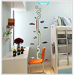 FairyTeller Cartoon Race Track Height Measure Wall Stickers For Kids Room Kids Growth Chart Wall Decals Home Decor Poster Mural