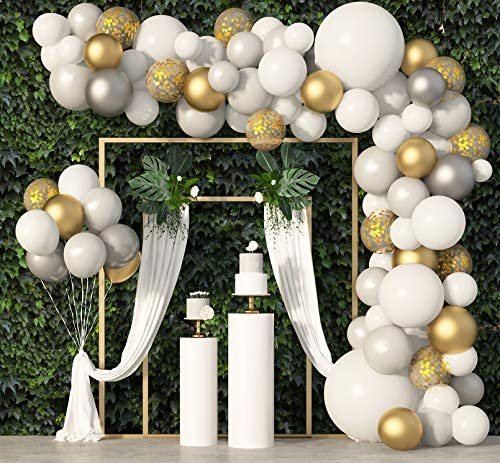 136Pcs White Balloon Garland Arch Kit, 18''12''5'' White Gold Silver Confetti Metallic Latex Balloons Set for Birthday Baby Shower Wedding Anniversary Party Decorations Supplies with 4Pcs Tools