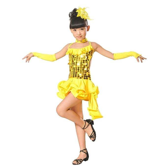 K-youth Ninas Borla Latino Vestido De Baile Vestido Danza Latina Niña Traje Baile Tango Salsa Deportivo Salón Ropa Niñas Lentejuelas Latín Practica Falda de ...