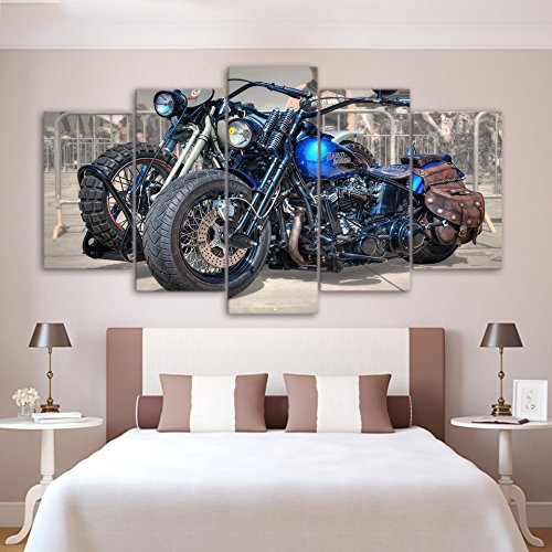 [Medium] Premium Quality Canvas Printed Wall Art Poster 5 Pieces / 5 Pannel Wall Decor Cool Motorcycle Painting, Home Decor Pictures - With Wooden Frame