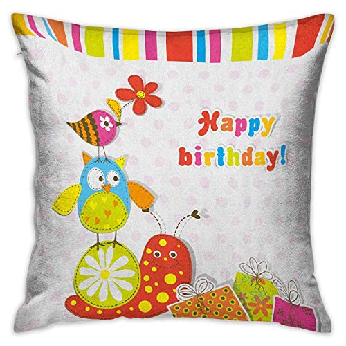 (Kids Birthday Square Body Pillowcase Patchwork Like Design with Owls Birds and Bugs Present Boxes on Polka Dots Multicolor Cushion Cases Pillowcases for Sofa Bedroom Car W17.7 x L17.7)