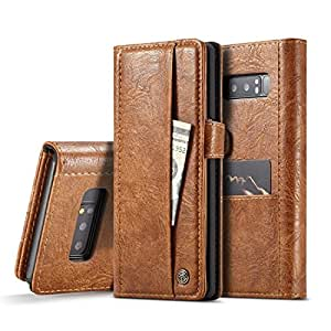 Protective Case Compatible with Samsung Compatible Samsung Galaxy Note 8 Crazy Horse Texture Horizontal Flip Card Slots Leather Case with Magnetic Clasp Wallet Phone case (Color : Brown)