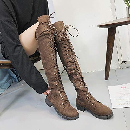 Rund Schuhe Heels Elegant Casual Sonnena Langschaftstiefel Stiefel Stiefel Overknee Mode Boots Strecken Party Fit Toe Damen Schnürer Braun High Slim Stiefel wqn88HX