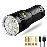 Semlos Super Bright Led Flashlight, High Lumens 12xLEDs 4 Modes Torch with Power dispaly Function and 4 Rechargeable Lithium Batteries