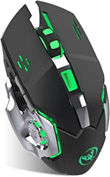 Ideal for Notebook Laptop Rechargeable Wireless Silent LED Backlit USB Optical Ergonomic Gaming Mouse with USB Nano Receiver Computer 6 Buttons,3 DPI Levels PC MacBook Lyperkin Wireless Mouse