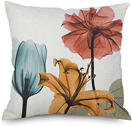 Throw Pillow Cover Decorative Durable Cushion Cover 18 x 18 Pillow Case Beautiful Flowers Tulip Watercolor Vibrant Pink Sage Color Hidden Zipper Home Decor Spring Summer Sofa Couch Bedroom Living Room