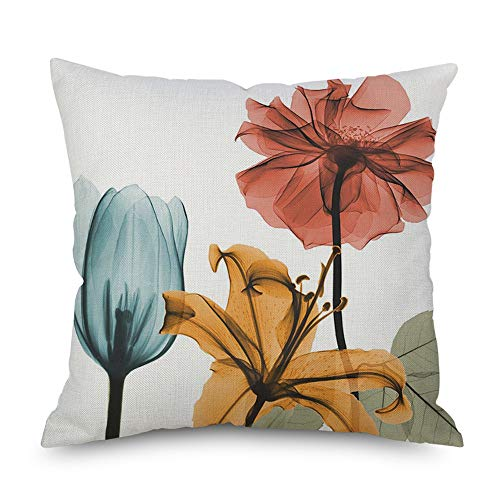 Throw Pillow Cover Decorative Durable Cushion Cover 18 x18 Pillow Case Beautiful Flowers Tulip Watercolor Vibrant Teal Brown Red Hidden Zipper Home Decor Spring Summer Sofa Couch Bedroom Living -