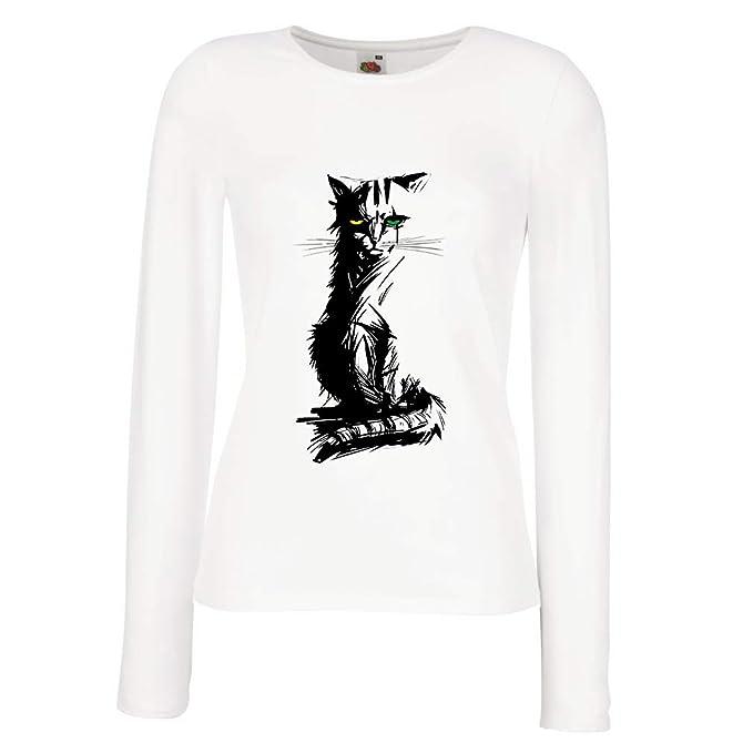 lepni.me Camisetas de Manga Larga para Mujer Lindo Gato con Ojos de Diferentes: Amazon.es: Ropa y accesorios