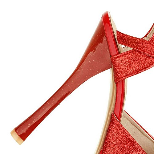 Sandales Couleur Boucle Rouge Femme Unie Talon Aalardom Tissu Paillette Haut À qSIIzw
