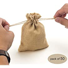 Yuxier 50piece Burlap Bags with Drawstring Gift Bags for Wedding Party ,Arts & Crafts Projects, Presents, Snacks & Jewelry,Christmas(5.3*3.7inch)(Flaxen)