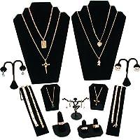 FindingKing 11 Pc Set Black Velvet Jewelry Displays Busts Bonus New