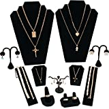 FindingKing 11 Pc Set Black Velvet Jewelry Displays Busts Bonus New