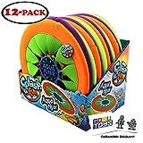 Splash Fun Aqua Flyer Soft Flying Water Disc Frisbee (12 Pack) 12' Diameter with 2 GosuToys Stickers
