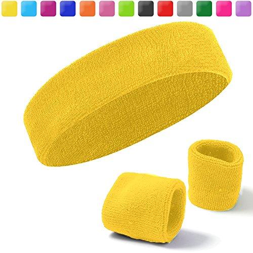 Acokac Basketball Sweatbands Set, Sports Headbands Wristband for Men Women (Yellow)