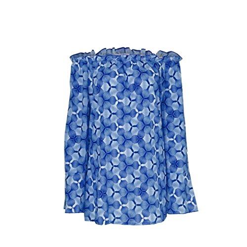 Loisir T Bateau Guesspower Imprim Grand XXXXXL Femme S 5 Couleur Blouse pour Manches Chic Chemise Tee t Taille Volants Bleu Top de Sexy Femme Cou Longues Shirt Haut Shirt qCdCT0