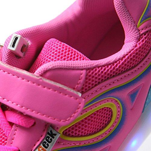 7 Carica Bambino Una Suola Unisex Scarpe Taglia Mejor Scarpe Luci Luminosi dei USB bambini DoGeek Scarpe Scarpe Sneakers Nella Bright Sneakers di Bambina Colore Luci Con Tennis LED Rosa2 Shoes Con Luce Led ZTZ0qI