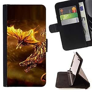 BullDog Case - FOR/LG OPTIMUS L90 / - / fire dragon fierce animal mythical creature /- Monedero de cuero de la PU Llevar cubierta de la caja con el ID Credit Card Slots Flip funda de cuer