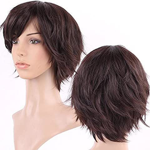 S-noilite Short Pixie Full Wigs Real Thick Heat Resistant Synthetic Hair Costume Wig For Women Ladies (Dark brown (The Pixies Deluxe)