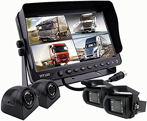 Camnex Car Backup Camera System 9 Monitor Build-in DVR Recorder with Quad Split Screen Rear View Camera System Kit for Truck Van Caravan Trailers Camper Bus RV Harvester