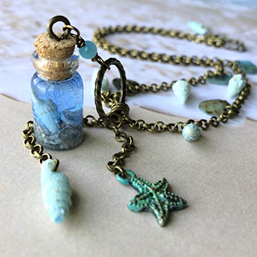 Mini Vial Necklace - Ocean in A Bottle - Miniature Glass Pendant - Nautical - Sea Shell Starfish Sand - Beach Wedding Theme Jewelry ()