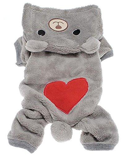 Zeroyoyo Cute Pet Clothing Dog Puppy Winter Heart Print Bear Style Fleece Hoodies Jumpsuit Hooded (Catdog Costume)