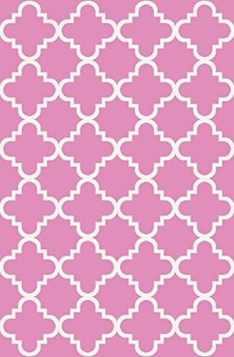 Hot Pink Contemporary Rug (Anti-Bacterial Rubber Back AREA RUGS Non-Skid/Slip 5x7 Floor Rug | Pink Trellis Indoor/Outdoor Thin Low Profile Living Room Kitchen Hallways Home Decorative Traditional Area)