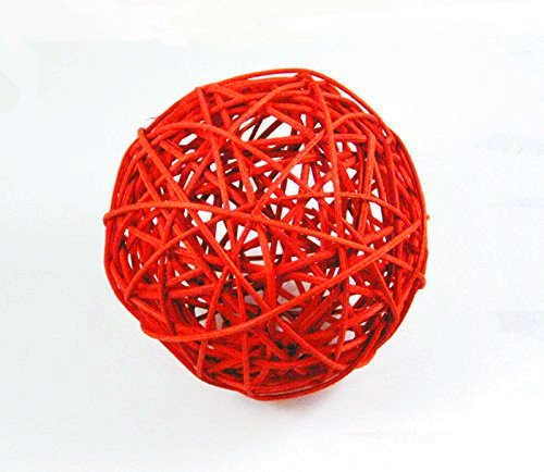 Small Red Wicker Rattan Woven Balls Pair